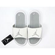 Nike Air Jordan Hydro IV Pantoufle - Autocollants magiques Sandals Blanc/argent Pas Cher Pour Homme Femme