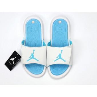 Nike Air Jordan Hydro IV Pantoufle - Autocollants magiques Sandals Bleu/Blanches Pas Cher Pour Homme