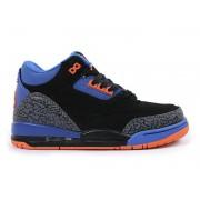 Air Jordan 3 Retro - Basket Jordan Pas Cher Chaussure Pour Petit Garcon Gris/Noir/Bleu