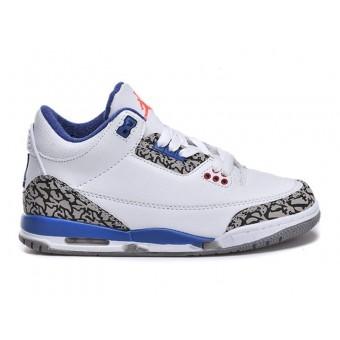 Air Jordan 3 Retro - Basket Jordan Pas Cher Chaussure Pour Petit Garcon Blanc/Gris