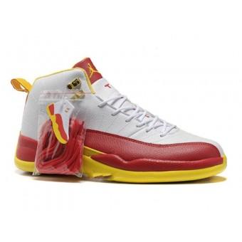 Air Jordan 12 Retro Chaussures Jordan Basket Pour Homme Blanc/Rouge/Jaune
