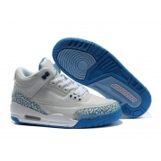 Air Jordan 3 Retro - Basket Jordan Pas Cher Chaussure Pour Femme Blanc/Bleu