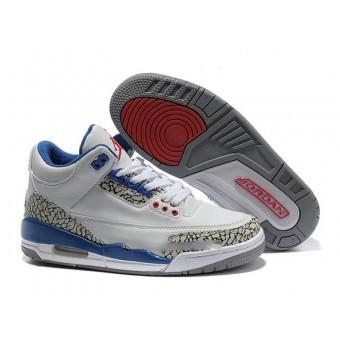 Air Jordan 3 Retro - Basket Jordan Pas Cher Chaussure Pour Femme Blanc/Bleu/Rouge