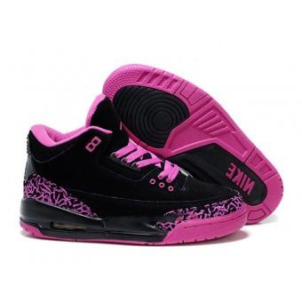 Air Jordan 3 Retro - Jordan Basket Pas Cher Chaussure Pour Femme Anti-fourrure/Noir/Rose