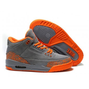 Air Jordan 3 Retro - Jordan Basket Pas Cher Chaussure Pour Femme Anti-fourrure/Gris/Orange