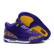 Air Jordan 3 Retro - Jordan Basket Pas Cher Chaussure Pour Femme Anti-fourrure/Jaune/Violet