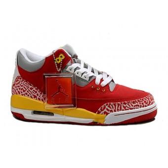 Air Jordan 3 Retro - Basket Jordan Chaussures Pas Cher Pour Homme Rouge/Gris/Jaune