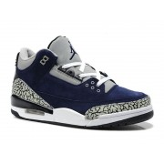 Air Jordan 3 Retro - Basket Jordan Anti-Fourrure Chaussures Pas Cher Pour Homme Bleu/Gris