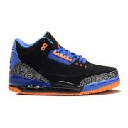 Air Jordan 3 Retro - Basket Jordan Anti-Fourrure Chaussures Pas Cher Pour Homme Noir/Bleu/Orange