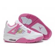Air Jordan 4 Retro - Basket Jordan Chaussures Pas Cher Pour Femme Blanc/Pink