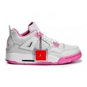 Air Jordan 4 Retro - Basket Jordan Chaussures Pas Cher Pour Femme Pink/Blanc