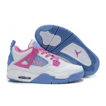 Air Jordan 4 Retro - Basket Jordan Chaussures Pas Cher Pour Femme Blanc/Bleu/Pink