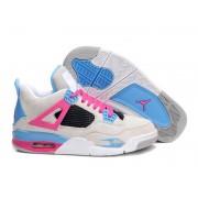 Air Jordan 4 Retro Anti-Fourrure Chaussures Jordan Pas Cher Pour Femme Blanc/Rose/Bleu