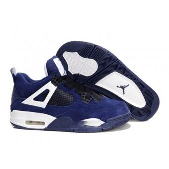 Air Jordan 4 Retro Anti-Fourrure Chaussures Jordan Pas Cher Pour Femme Deep Bleu/Blanc