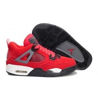 Air Jordan 4 Retro Anti-Fourrure Chaussures Jordan Pas Cher Pour Femme Rouge/Gris/Noir