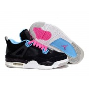 Air Jordan 4 Retro Anti-Fourrure Chaussures Jordan Pas Cher Pour Femme Noir/Pink/Blanc