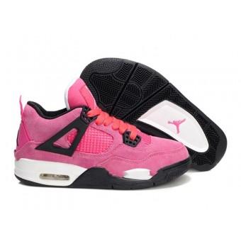 Air Jordan 4 Retro Anti-Fourrure Chaussures Jordan Pas Cher Pour Femme Pink/Noir