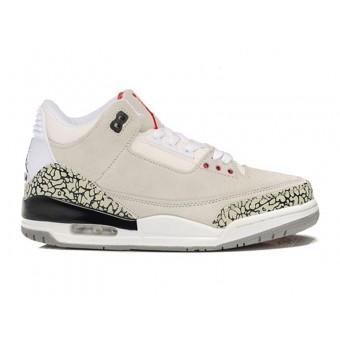 Air Jordan 3 Retro - Basket Jordan Anti-Fourrure Chaussures Pas Cher Pour Homme Beige/Rouge