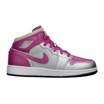 Air Jordan I/AJ1 Mid (GS) - Nike Air Jordan Baskets Pas Cher Chaussure Pour Femme/Fille