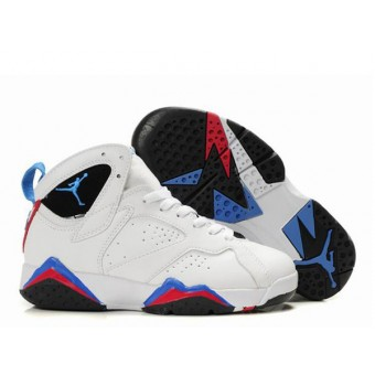 Air Jordan 7 Retro Chaussures Pour Femme Blanc/Noir/Bleu Chaussures Jordan Femme